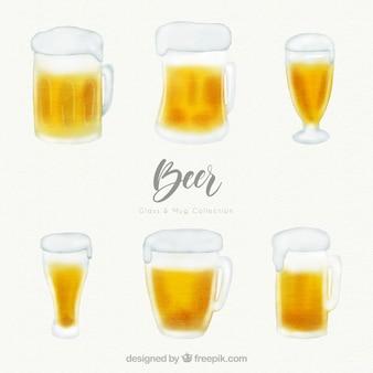 Akwarela kolekcja szkła i piwa