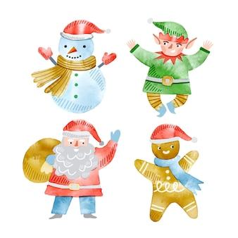 Akwarela kolekcja znaków świątecznych