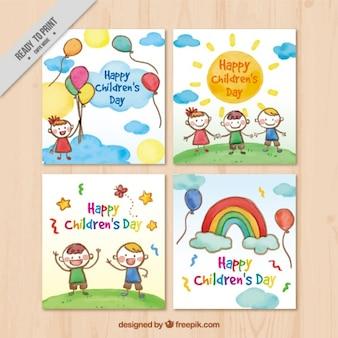 Akwarela kolekcji kart dnia dziecka
