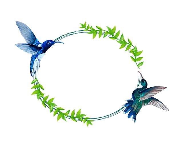 Akwarela kolibry (colibri) oraz liść i ramka z elementów