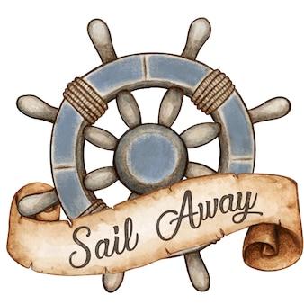Akwarela koło morskie w stylu vintage z banerem wiadomości starożytnego przewijania