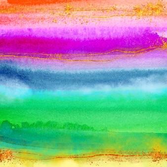Akwarela kolorowa tęcza tło