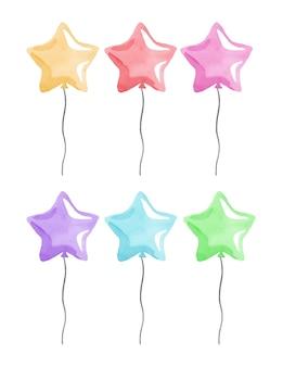 Akwarela kolorowe balony w kształcie gwiazdy z wstążkami zestaw na białym tle