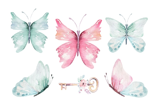 Akwarela kolorowe motyle wektor, różowy, niebieski, żółty, różowy i czerwony motyl wiosna ilustracja. magiczna wiosenna kolekcja