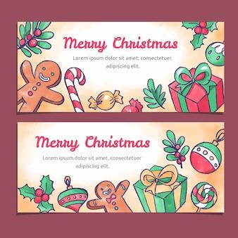 Akwarela kolorowe sztandary świąteczne