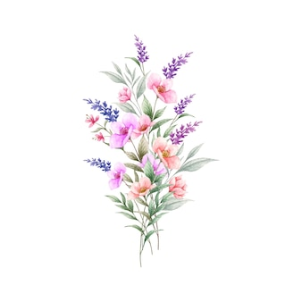 Akwarela kolorowy bukiet dzikich wiosennych kwiatów