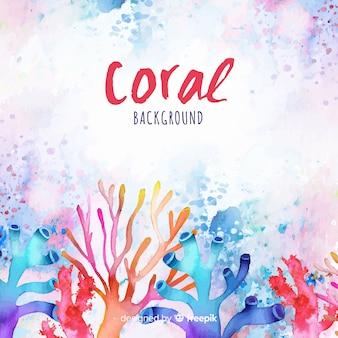 Akwarela kolorowy koralowy tło