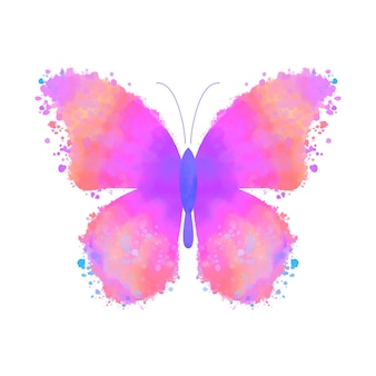 Akwarela kolorowy motyl na białym tle.