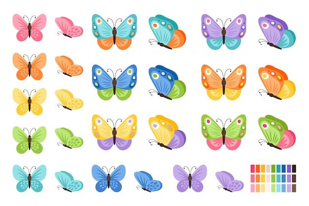 Akwarela kolory motyle na białym tle. ładny wektor zestaw motyl z wiosną palety dla dziecka