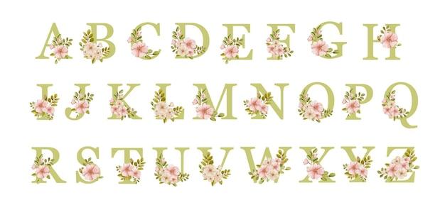 Akwarela kompletny alfabet z pięknymi wiosennymi kwiatami