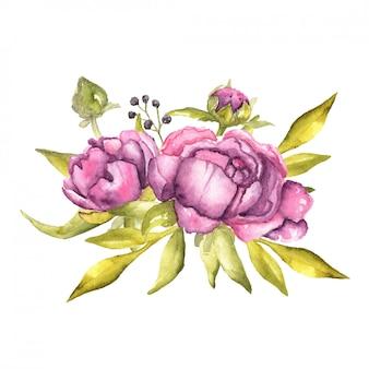 Akwarela kompozycja kwiatowa