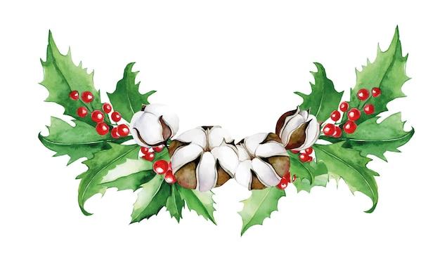 Akwarela kompozycja świąteczna bukiet liści ostrokrzewu i jagód oraz kwiatów bawełny