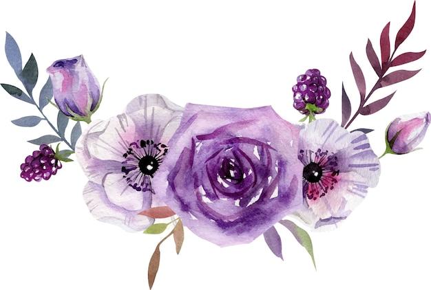 Akwarela kompozycja z biało-fioletowych kwiatów, liści.