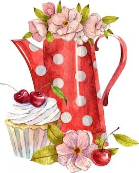 Akwarela kompozycja z czajnik, filiżanki, ciasta i kwiaty. przytulny wystrój kuchni. ręcznie malowane ilustracja. angielskie śniadanie w stylu vintage