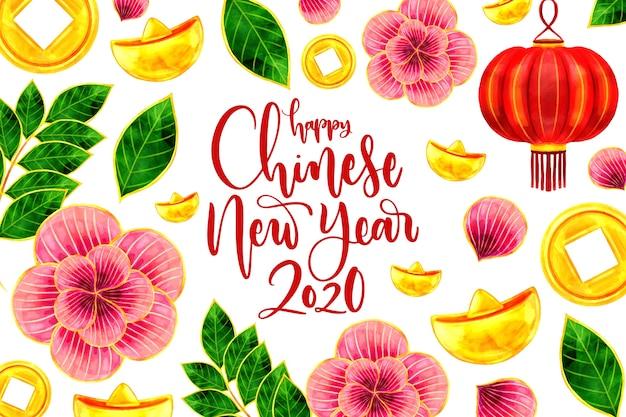 Akwarela koncepcja chińskiego nowego roku