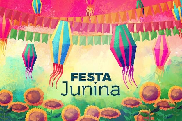 Akwarela koncepcja festa junina