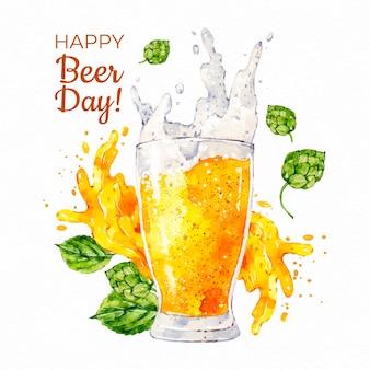 Akwarela koncepcja międzynarodowego dnia piwa