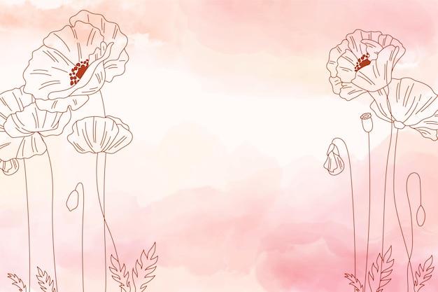 Akwarela kopia przestrzeń tło z kwiatami