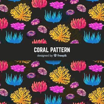 Akwarela koral wzór