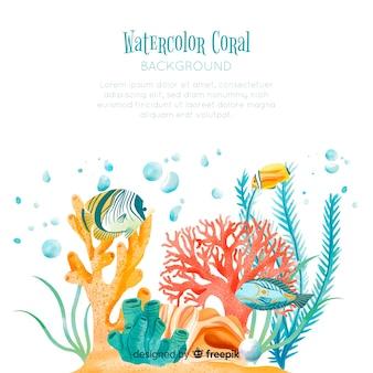 Akwarela koralowy szablon tło