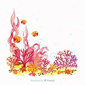 Akwarela koralowy tło