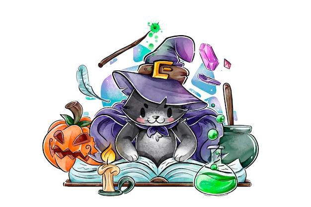 Akwarela kot halloween