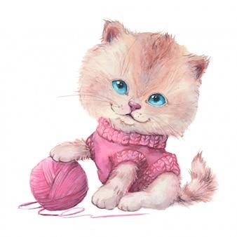 Akwarela kot kreskówka w swetrze z kulką przędzy.