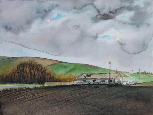 Akwarela krajobraz na ilustracji gór
