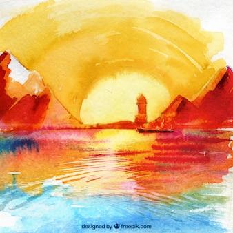 Akwarela krajobraz o zachodzie słońca