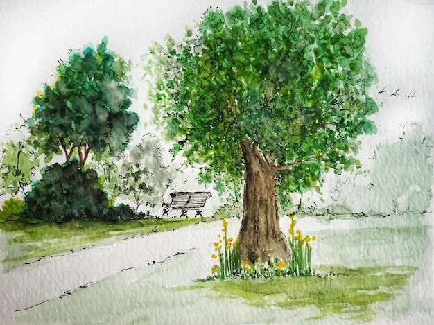 Akwarela krajobraz z drzewami abstrakcyjna natura ręcznie rysowane tła