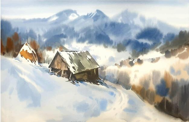 Akwarela krajobraz z górami i ilustracją śniegu