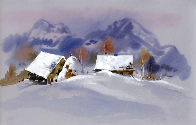 Akwarela krajobraz z ilustracją śniegu i wzgórza