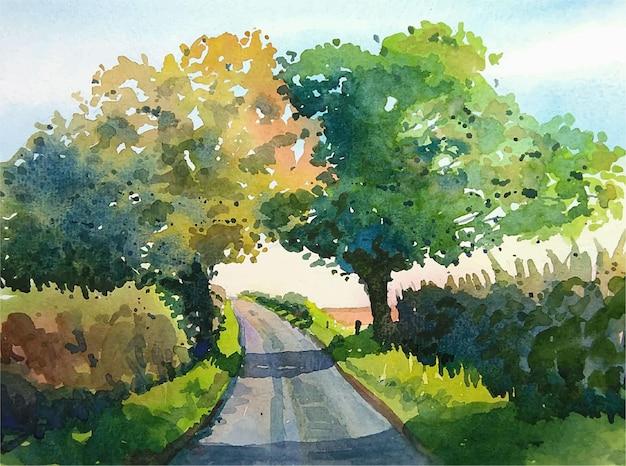 Akwarela krajobraz z ilustracji drzew