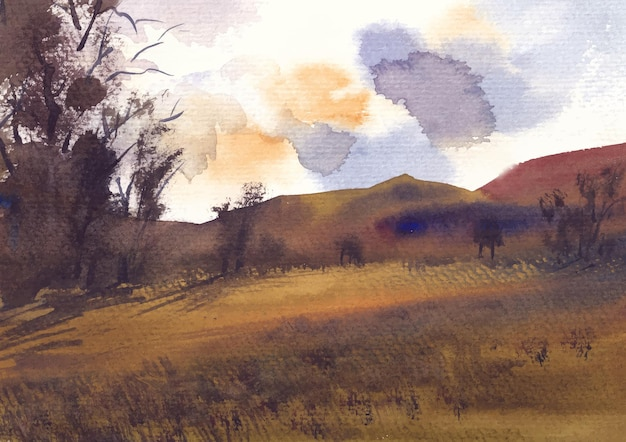 Akwarela krajobraz z widokiem na góry