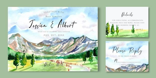 Akwarela krajobraz zaproszenie ślubne z góry błękitne niebo i zielone pole