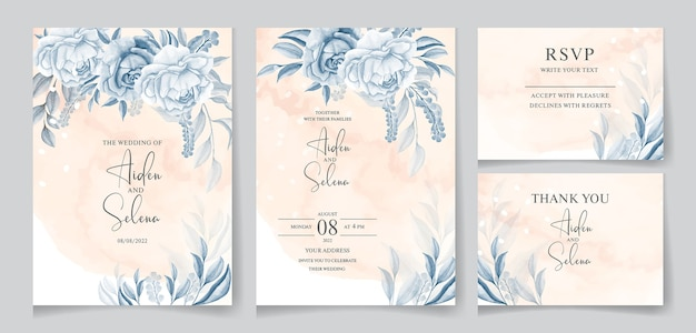Akwarela kremowy szablon zaproszenia ślubne z pięknym kwiatem i liśćmi