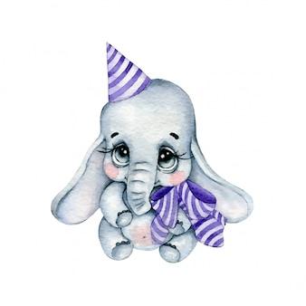 Akwarela kreskówka słoń z fioletową kokardą i czapka urodzinowa