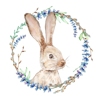 Akwarela króliczek z wieńcem kwiatów. ręcznie malowany królik z lawendą, wierzbą i gałęzią drzewa na białym tle