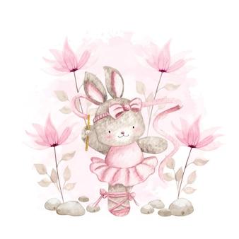 Akwarela królik baleriny z różowymi kwiatami