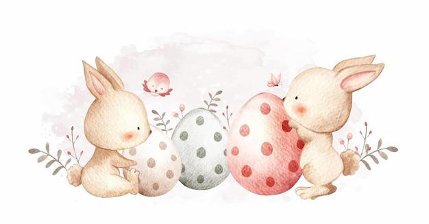 Akwarela królik wielkanocny z jajkami