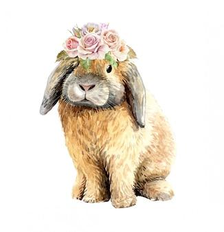 Akwarela królik z koroną z bukietem kwiatów