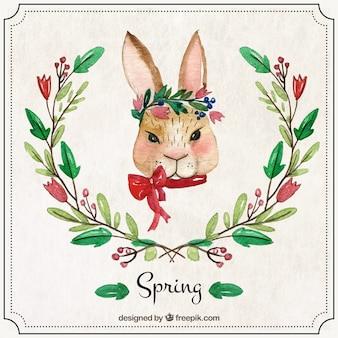 Akwarela królik z ornamentami