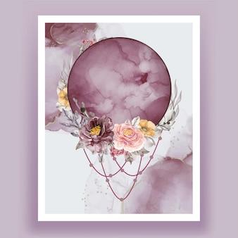 Akwarela księżyc w pełni fioletowy różowy kwiat róży