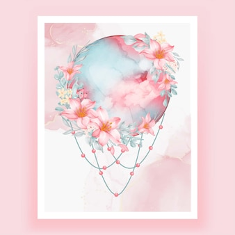 Akwarela księżyc w pełni różowy kwiat lilii brzoskwini