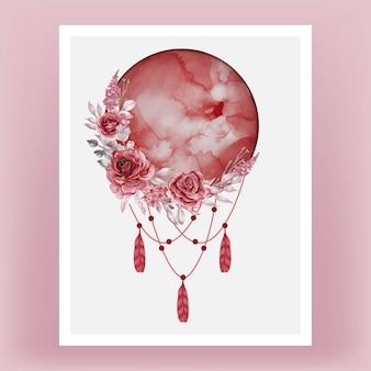 Akwarela księżyc w pełni w czerwonym odcieniu z bordowym różem