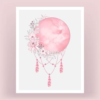 Akwarela księżyc w pełni w jasnoróżowym kolorze z kwiatem