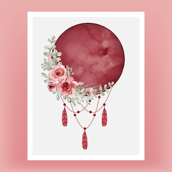 Akwarela księżyc w pełni w kolorze czerwonym bordowym z kwiatem