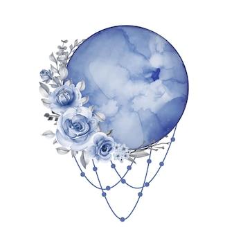 Akwarela księżyc w pełni w niebieskim odcieniu z kwiatem