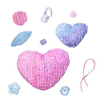 Akwarela kula przędzy na drutach w kształcie serca.