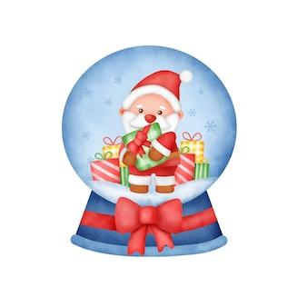 Akwarela kula śnieżna bożego narodzenia z uroczym mikołajem.